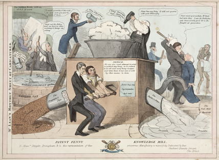 'The Patent Penny Knowledge Machine', caricature of the popular press, c 1830s.