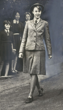 Schoolgirl in uniform, Durham, 9 December 1961.