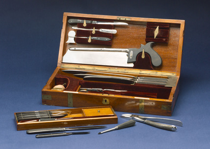 Surgical instrument set in a case, c 1850.