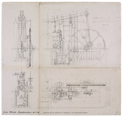 Top, side and end elevation drawings of James Watt's 'Lap' engine, 1788.