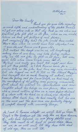 Letter revealing the Cottingley Fairies photographs as fakes, 1983.