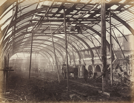 Construction of Bayswater Station, London, c 1867.