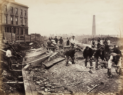 Construction of the Metropolitan District Railway, London, c 1867.