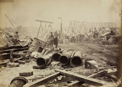 Construction of the Metropolitan District Railway, Westminster, London, c 1869.