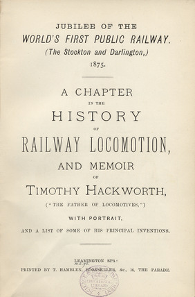 Title page from 'A chapter in the history of railway locomotion...', 1875.