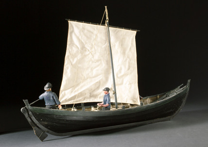 Norse whale boat with three figures, 1931.