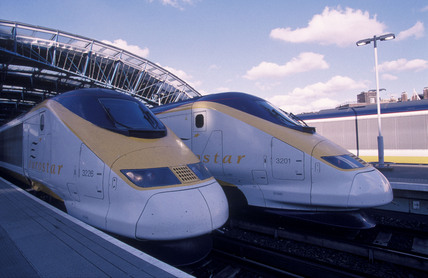 Two Eurostar trains.