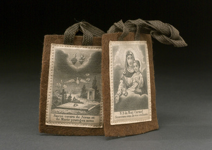 Scapular with holy pictures, European, 1851-1930.