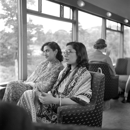 Two ladies from Pakistan travelling to Devon on the 'Devon Belle', May 1953.