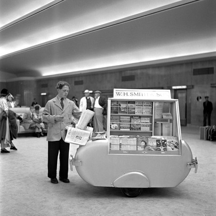 W H Smith's mobile bookstall in Ocean Terminal, Sothampton Docks, 1950.