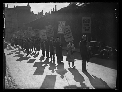 Anti-Japanese demonstration, Britain, 1930s.