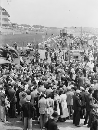 Prince Monolulu the tipster at work, Epsom Races, Surrey, 30 May 1937.