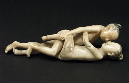 Ivory figurine of a loving couple, Chinese.