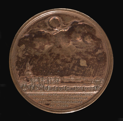 Medal commemorating Charles and Robert's balloon ascent, Paris, 1783.