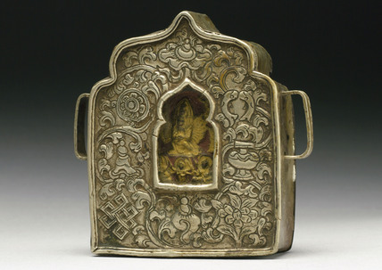 Metal shrine containing an image of the Buddha, Tibetan, 19th century.