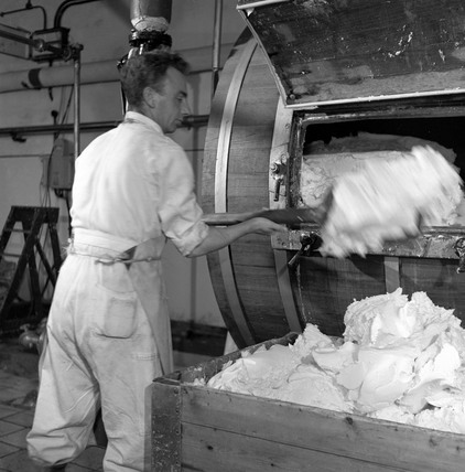Man piling butter on to a conveyor at a Campbeltown dairy, Scotland, 1950.