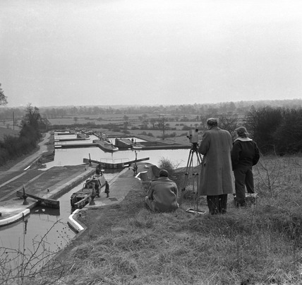 BTF production crew filming a narrow boat at Knowle lock, 1950.