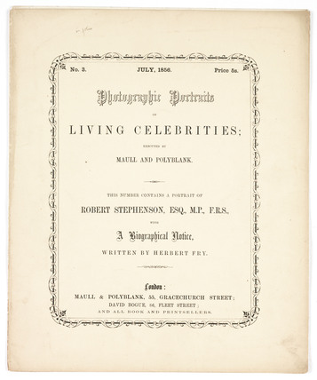'Photographic Portraits of Living Celebrities', 1856.