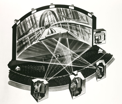 Diagram showing how Cinerama works, 1952.
