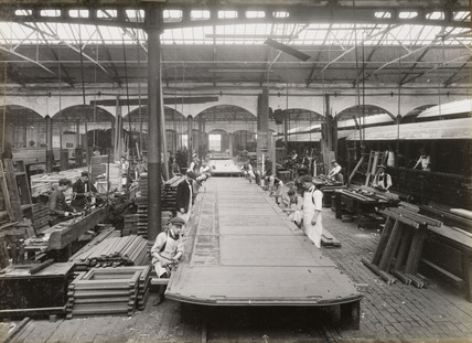 Manufacture of carriages at Doncaster works, South Yorkshire, c 1916.