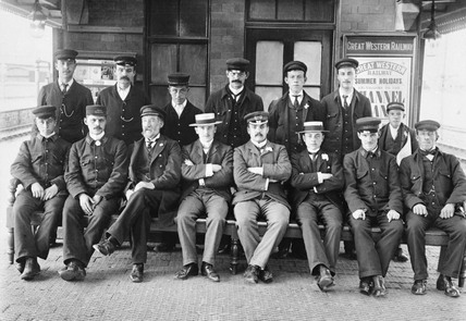 Railway staff at Lawrence Hill Station, Bristol, c 1905.