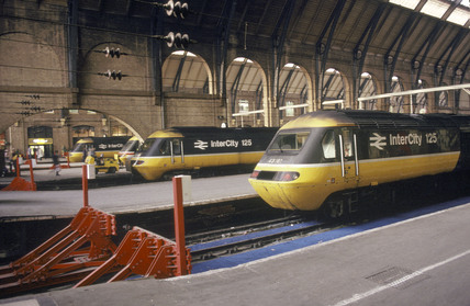 High Speed Trains at King's Cross Station, London, 1993.