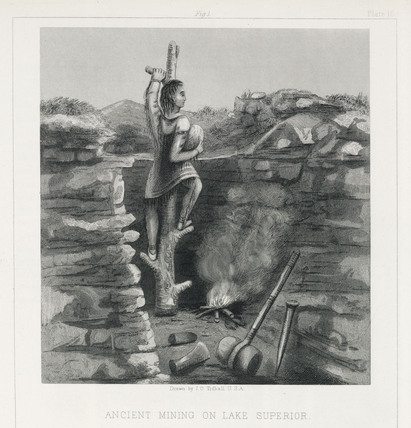 'Ancient Mining on Lake Superior', North America, 1855.