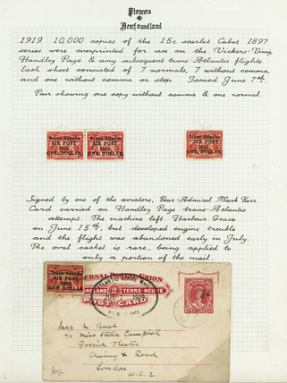 Stamps and post card from first trans-Atlantic flights, 1919.