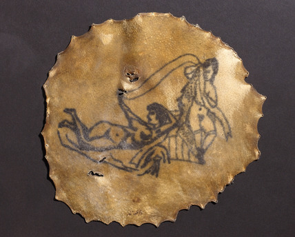 Human skin, tattooed with two nude female figures, French, 1830-1900