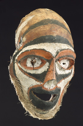 Mask made from a human skull, New Britain, Papua New Guinea, 1801-1910.