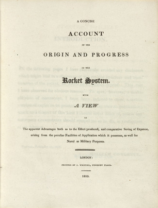 Title page of 'Account of the Origin and Progress of the Rocket System', 1810.
