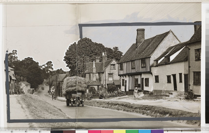 Row of cottages with lorry driving past, Newport, Essex, July 1933.