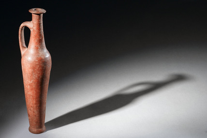 Red ware pottery flask, Syrian, 1500-1100 BC.
