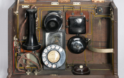 'School telephone' in polished wood case, 1921-1940.