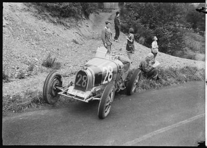 Bugatti racing car by the roadside, Germany, c 1931.