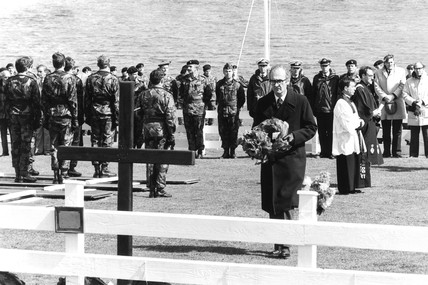John Nott laying a wreath, c 1982.