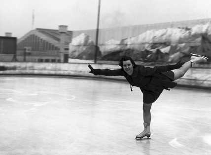 Woman ice-skating, c 1930s.