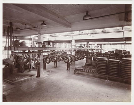Interior of a tyre factory, c 1930.