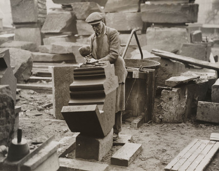 Stonenmason working on the Anglican Cathedral, Liverpool, 1934.