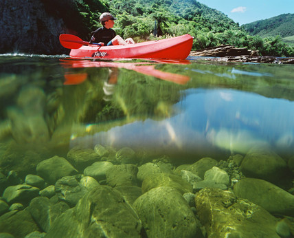 Canoeing on the Hutt River, New Zealand, 1997.