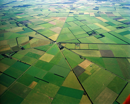 High-altitude view of agricultural patterns, New Zealand, May 1994.