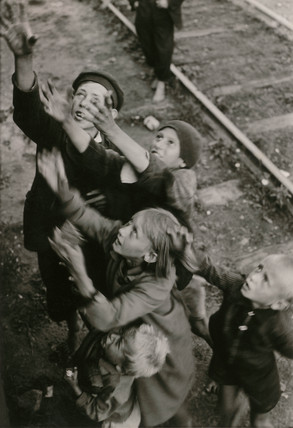 Children begging, Poland, Second World War, 1940s.