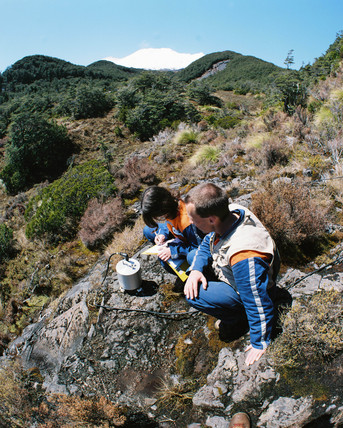 Geologist using seismic equipment, New Zealand, October 1995.