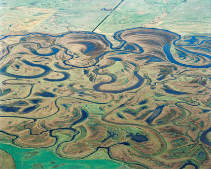 Meanders and oxbow lakes on the Taieri River, New Zealand, May 1996.
