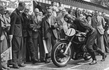 The Duke of Edinburgh at the Senior TT motorcycle race, 17 June 1949.