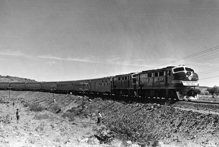 The Indian-Pacific train's inaugural run, Australia, May 1970.
