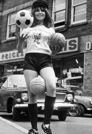 Anne Worrall (19), in World Cup gear, July 1966.
