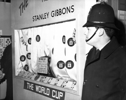 Display cabinet where the World Cup trophy was stolen, 20 March 1966.