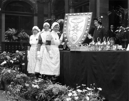 The Duchess of York presenting a shield to Liverpool Nurses, 15 May 1931.