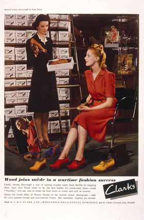 Advertisement for Clarks shoes, Second World War, 1940s.